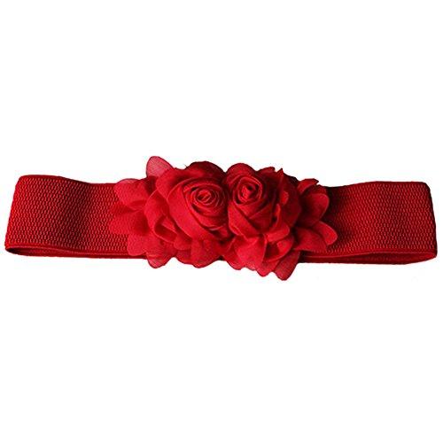 Rote Skinny Gürtel (Damenmode Blumen elastischer Gürtel Stretch Hüftgurt Breiter Gürtelbund (Rot))