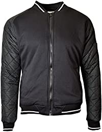 SoulStar Mens Casual Warm Outwear Quilted Arm Full Zip Bomber Jacket Top