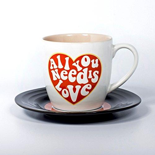 Lyrical Mug - Ensemble-Cadeau de Tasse et Soucoupe Céramique avec Paroles de Chanson Amour - John Lennon & Paul McCartney - Autorisé par Sony/ATV - Thumbs up! - 1001707