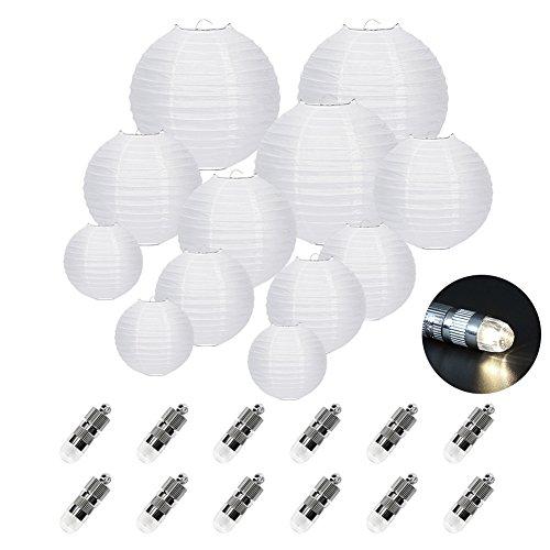 FullBerg 12er Weiße Papier Laterne Lampions (Verschiedene Größen) +12er Warmweiße Mini LED-Ballons Lichter, rund Lampenschirm Hochtzeit Dekoration Papierlaterne