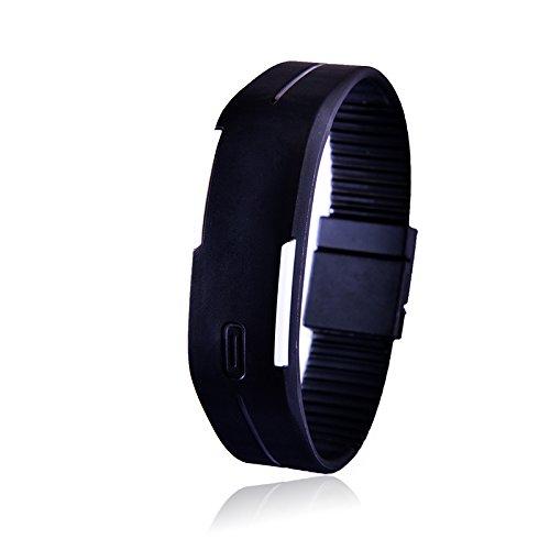 New SESEDEN New Fashion LED Bracelet Digital Watches Men Ladies Child Clock Women's Bracelet Watches Rubber Sports Wristwatch Saat black