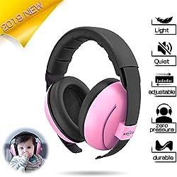 Casque anti bruit pour bébé,Toennesen bébé Protection auditive Cache-oreilles,pour Dormir Concerts D'avion D'artifice-Rose