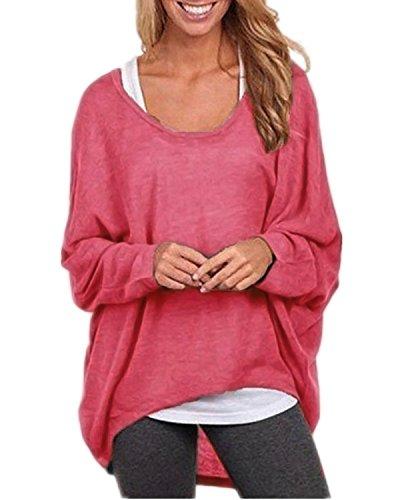 Asymmetrische Tunika (Cindeyar Asymmetrisch Pullover Pulli Oversize Strickjacke Longshirt Tunika Elegant Langarm Oberteile Tops T-shirt (Medium, Rot))