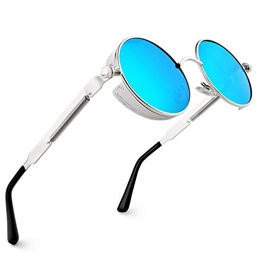 CGID Retro Sonnenbrille im Steampunk Stil runde Metallrahmen Polarisiert Brille Herren Damen Silber Rahmen Blaue Gläser Verspiegelt, CAT3, CE, E72