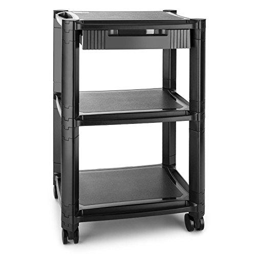 auna P-Stand Mesa con ruedas para impresora (guía de cables, frenos, 3 bandejas de altura regulable, mueble oficina) - negro