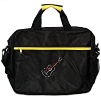 Yellow Colour Portfolio Music Bag/Case - Embroidered Acoustic Guitar Design
