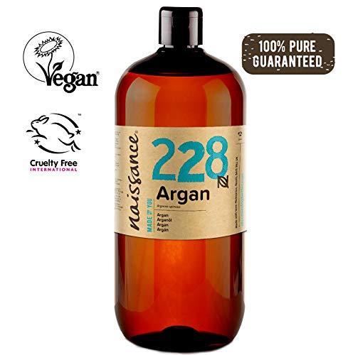 Naissance Olio di Argan del Marocco 1L - Puro e Naturale, Anti-età, Antiossidante Vegan, Senza Esano, Senza OGM - Idratante Naturale per Viso, Capelli, Pelle, Barba e Cuticole