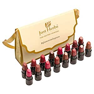 Just Herbs Ayurvedic Lipstick Micro-Mini Trial Kit 38gm ( Pack of 16)