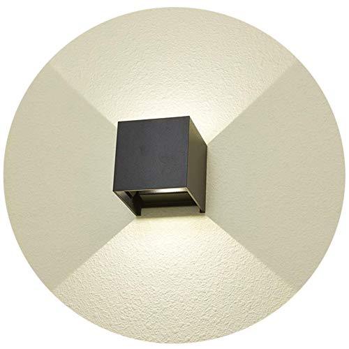 K-Bright Applique murale LED 7W, éclairage extérieur IP65, design de faisceau lumineux réglable de haut en bas, applique murale cube blanc naturel, noir