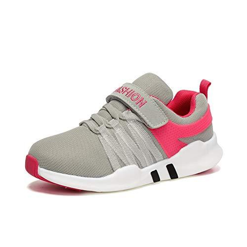 Unpowlink Kinder Schuhe Sportschuhe Ultraleicht Atmungsaktiv Turnschuhe Klettverschluss Low-Top Sneakers Laufen Schuhe Laufschuhe für Mädchen Jungen 28-37 (31 EU, 1823-Rosa-A)