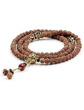 Ovalbuy tibetisches 1088mm x 7mm Rudraksha Bodhi Gebetskette buddhistische Mala Halskette