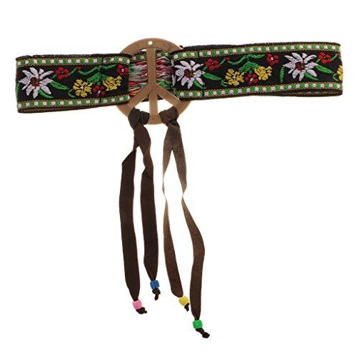 MagiDeal Hippie Headband Signo de Paz Patrón de Flor Hairband de Mujeres Niñas Apoyo de Partido