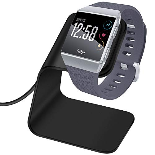 KIMILAR Fitbit Ionic Ladegerät, Premium Aluminium Ladestation mit 3 Fuß Ladekabel Zubehör Ladestation Ladestation Halter für Fitbit Ionic Health & Fitness Smartwatch - Schwarz