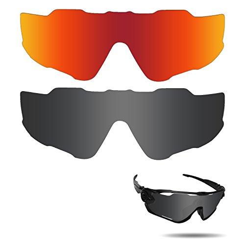fiskr anti-saltwater Polarisierte Ersatz Gläser für Oakley Jawbreaker Sonnenbrille 2Paar verpackt, Stealth Black & Fire Red - Black Fire Glas