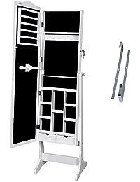 Songmics Armoire à bijoux avec clés 3 façons à mettre en place débout mural suspendu à la porte (Blanc) JBC84W
