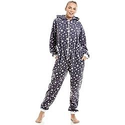Camille Combinaison Pyjama pour Femme Polaire Douce Gris/imprimé étoiles Blanches 46/48