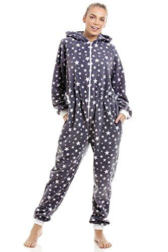 Pijama Pieza Mujer Estampado Estrellas Blancas Forro