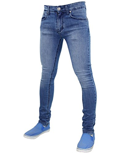Da uomo True Face Super Skinny Slim Fit Elasticizzato Jeans Denim pantaloni in cotone TF021 - Light Mid Wash 32W x 32L