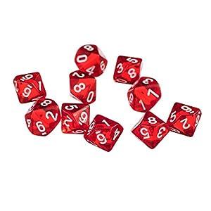 D10 Diez Juegos de Dados Plástico para RPG Dungeons & Dragons Games – Rojo