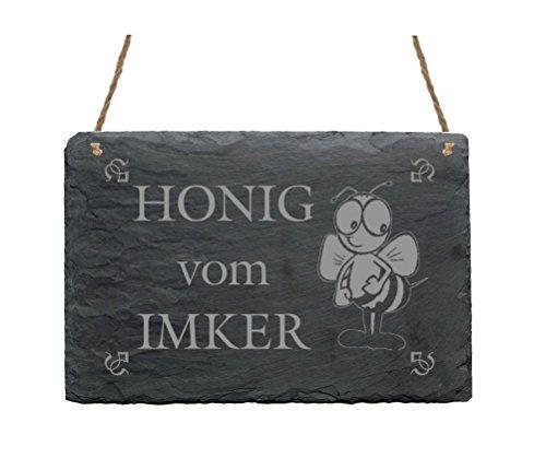 Wetterfeste Schiefertafel « HONIG VOM IMKER » Schild mit Motiv lustige Biene - für Haus Garten Terrasse - Türschild Dekoschild Dekoration - Geschenk Imkerei
