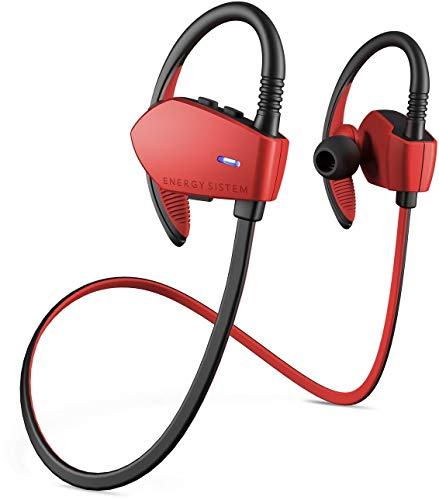 Energy Sistem Sport 1 - Auriculares Deportivos in-Ear (Sistema Secure-fit, Bluetooth, sin Cable) Rojo