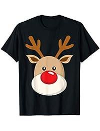 Rudolf Rote Nase Weihnachten Xmas Feiern Süßes Gesicht T-Shirt
