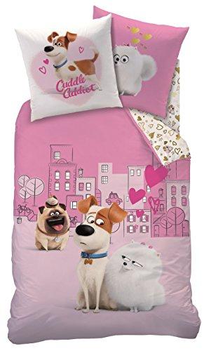 Familando Chica Ropa de Cama 135x 200cm + 80x 80cm, linón Color Rosa con Simpáticos Cachorros, Animales, Perros y Gatos Corazones Love