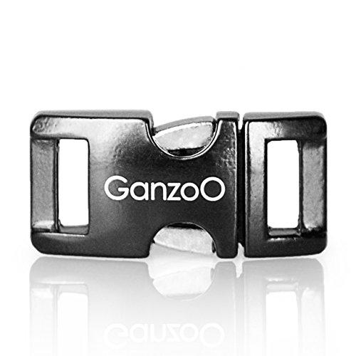 Ganzoo Metall-Klick-Verschluss, Set aus 3 Stück, 3/8 Zoll, rostfrei / Steck-Schließer / Steck-Verschluss für Paracord-550-Armbänder, Hunde-Halsbänder, Oberfläche...