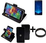 K-S-Trade® Hülle Schutzhülle Case Für -Bluboo Maya Max- + Bumper Handyhülle Flipcase Smartphone Cover Handy Schutz Tasche Walletcase Schwarz (1x)