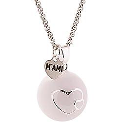Llamador de ángeles M'AMI® esmaltado blanco con corazones y con cadena de acero