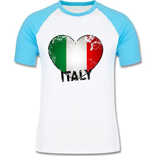 EM 2016 - Frankreich - Italien Herz Vintage - zweifarbiges Baseballshirt für Männer Weiß/Türkis