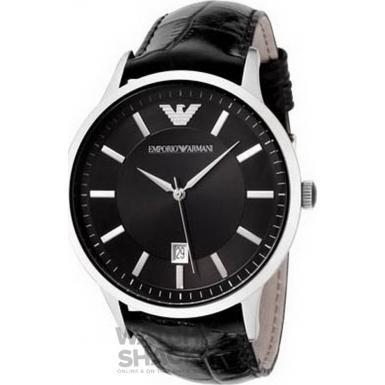 AR2411 Gents Armani Black Leather Strap Watch