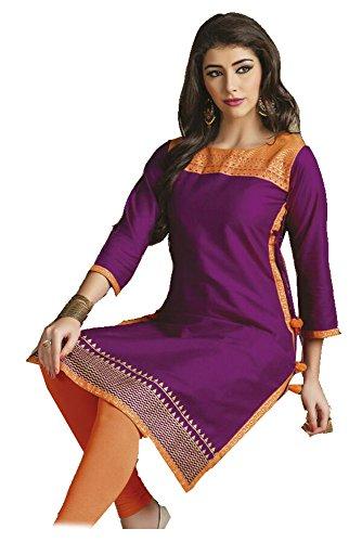 Petite Baumwolle Gestickte Neck Top (Jayayamala Frauen Violet Cotton Bestickte Tunika Top Boho Tunika plus Größe / Kurti für Party Wear Dress (XXXL))