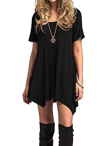 Azue Damen Sommerkleider Kurzarm Kleider Casual T-shirt kleid Loose Fit für Alltag, Schwarz K, EU 40 (Herstellergröße M) - Schwarz Kurze Ärmel T-shirt