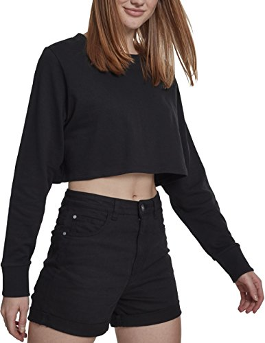Urban Classics Damen Crop Pullover Ladies Terry Cropped Crewneck - Farbe black, Größe M