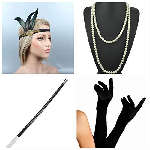 Kostüm Clyde Und Bonnie Zubehör - thematys Gangster-Braut Flapper Set + Stirnband + Halskette + Handschuhe + Zigarettenhalter - 20er Jahre Kostüm-Set für Damen - perfekt für Fasching & Karneval (3)