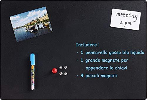 Magnetische Kreidetafel Metalltafel doppelseitig mit 1 Flüssigkreide-Marker, 5 Magneten, 4 Schrauben, 56 x 38 x 0,12 cm (Schwarz)