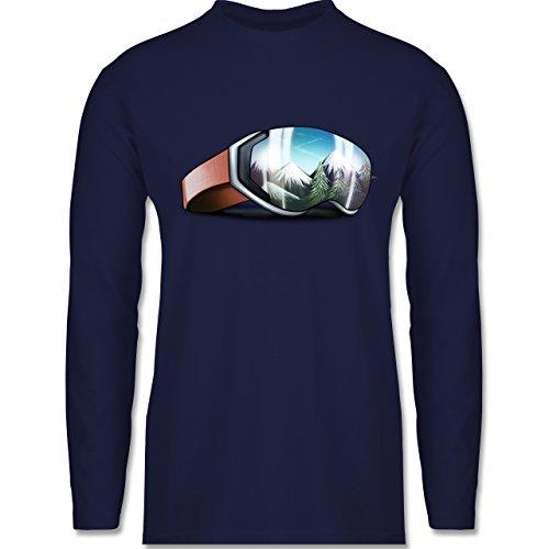 Shirtracer Wintersport - Skibrille - Herren Langarmshirt Navy Blau