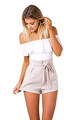 Miss Floral® Womens Bandeau 1 Piece White And Beige 2 Tone Mini Playsuit Size 6 - 14 from Legendary Anpire Limited