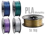 PLA Filament 3D Drucker 1,75mm / 5x 1kg Rolle 5 Metallic Farben 5er Set (5Kg) für 3D Printer oder Stift