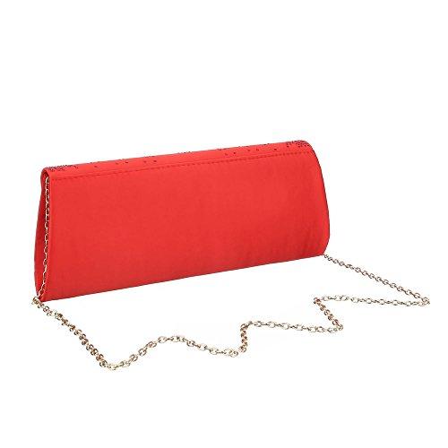 Damen Tasche, Kleine Schultertasche Clutch, Satin, TA-HD439 Rot