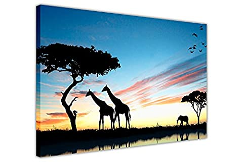 AFRICA WILDLIFE SILHOUETTE GIRAFFES ELEPHANT BIRDS FRAMED PICTURES CANVAS WALL