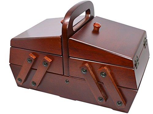 Costurero madera extensible con 3 compartimentos y 2 almohadillas