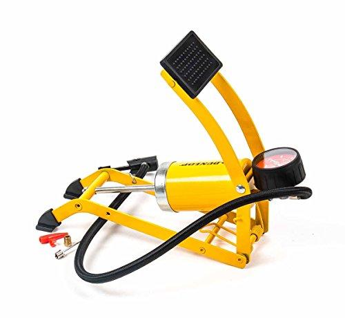 Unbekannt Fußpumpe mit Manometer, Skala in PSI/Bar, 1 Zylinder, 3 Adapter, Klarsichtbox, gelb -