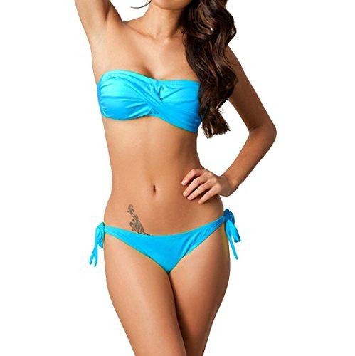 Reizvollen Strand Damen Bandeau-bikini-set Badeanzug Bademode Dessous BH Set Kleidung Blau