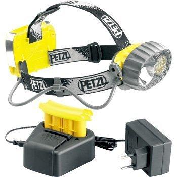 Petzl Stirnlampe E72AC Duo Accu Hybrid Wasserdicht Scheinwerfer, Halogen/14LED mit 3konstante Beleuchtung Modi und wiederaufladbarer Akku, gelb