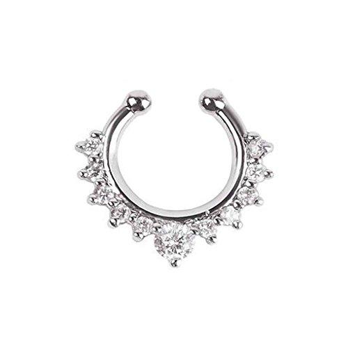 busirde Frauen-Kristall Gefälschte Hoop-Nasen-Ring-Punk-Nasen-Klipp-Mädchen Nostril Hoop Nose Hoop-Ring-Körper-Piercing Schmucksachen (Hoop Nose Ring)