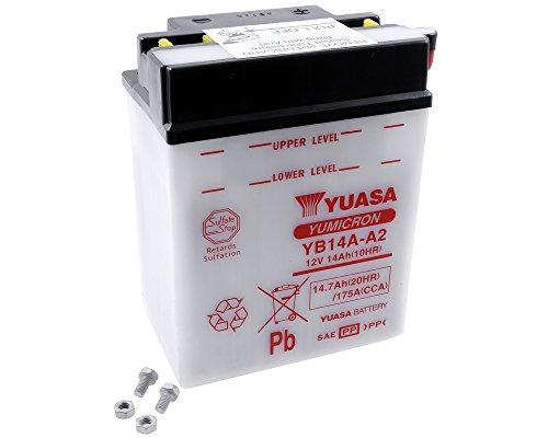 Batterie YUASA - YB14A-A2 für KAWASAKI KAF400, Mule 600, 610 400 ccm Baujahr 05-10 [inkl. 7,50 EUR Batteriepfand] -