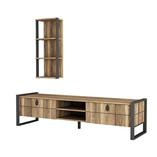 Alphamoebel 4927 Lost Wohnwand Tv Board Lowboard Regal hängend Sideboard Metallfüße, Wohnzimmer, Walnuss Braun, 184,5 x 34 x 45 cm, Wandregal Metallrahmen -