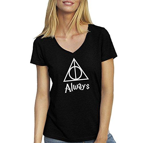 always-triangle-harry-potter-artwork-nero-t-shirt-maglietta-collo-a-v-per-le-donne-large